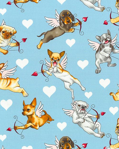 Nicole's Prints - Puppy Love - Sky Blue