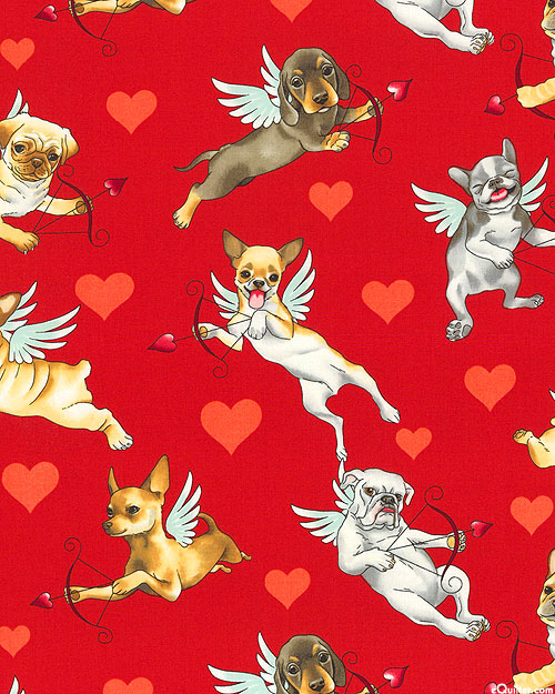 Nicole's Prints - Puppy Love - Cardinal Red