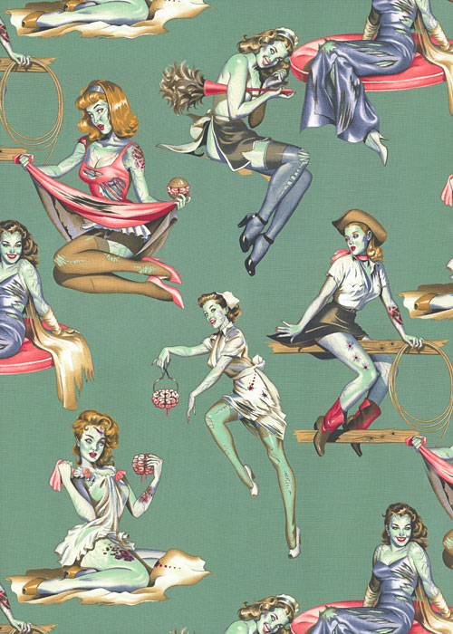 Beauties & Brains - Zombie Pin-Ups - Dk Sage Green