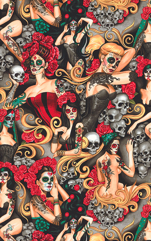 Las Elegantes - Day of the Dead Pinups - Black