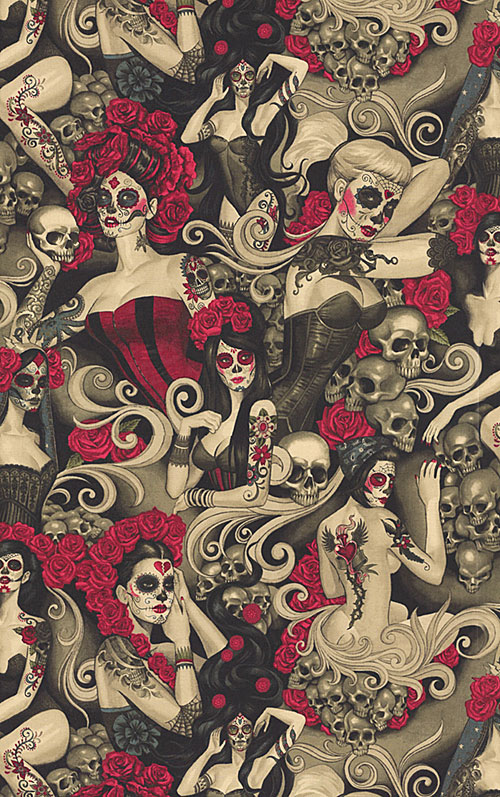 Las Elegantes - Day of the Dead Pinups - Taupe