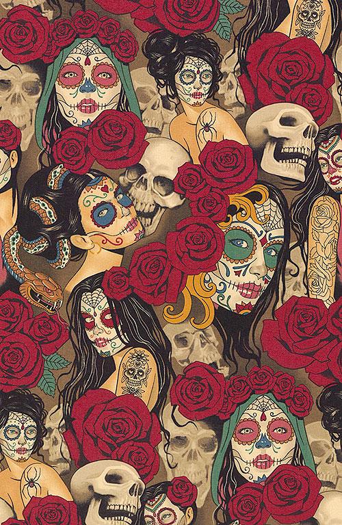 Nocturna - Sugar Skull Pinups - Umber Brown