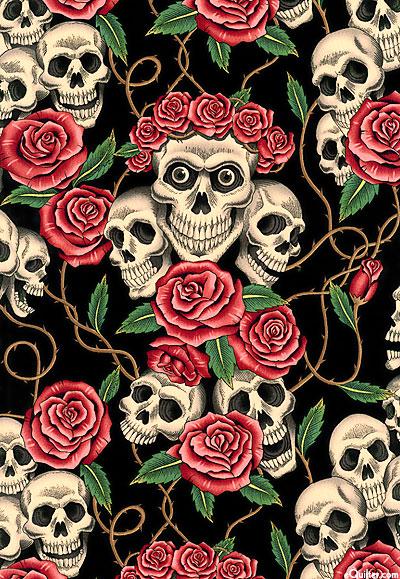 Skulls and Roses - Coral Rose/Black