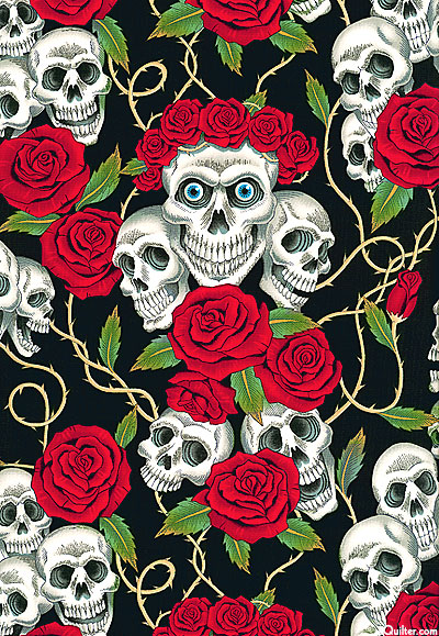 Skulls and Roses - Black