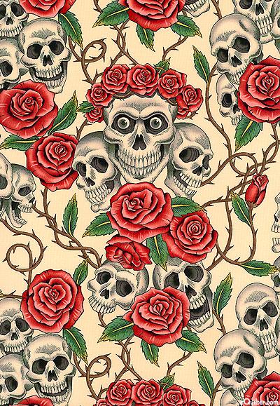 Skulls and Roses - Antique Beige