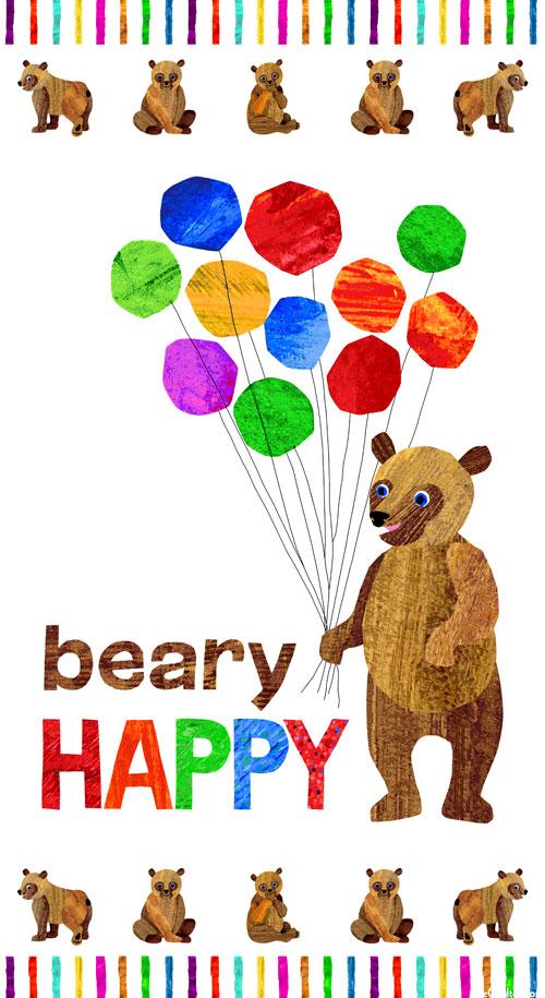 "Beary Happy - Birthday Balloons - 24"" x 44"" PANEL"