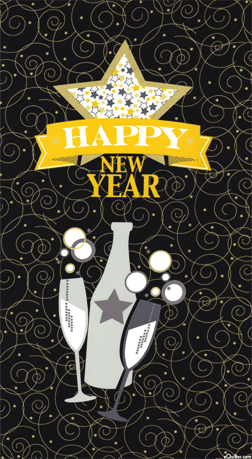 "Happy New Year - Party Hardy - Black/Gold - 24"" x 44"" PANEL"