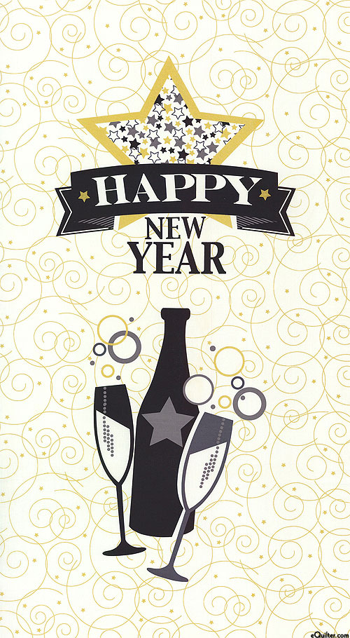 "Happy New Year - Party Hardy - White/Gold - 24"" x 44"" PANEL"