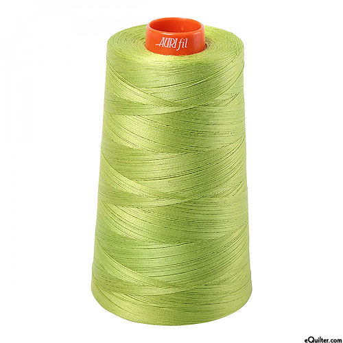 Green - AURIFIL Cotton Thread CONE - Solid 50 Wt - Spring Green