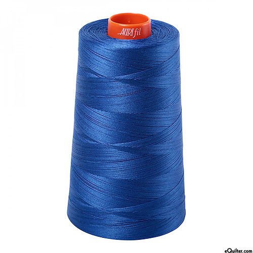 Blue - AURIFIL Cotton Thread CONE - Solid 50 Wt - Pacific Blue
