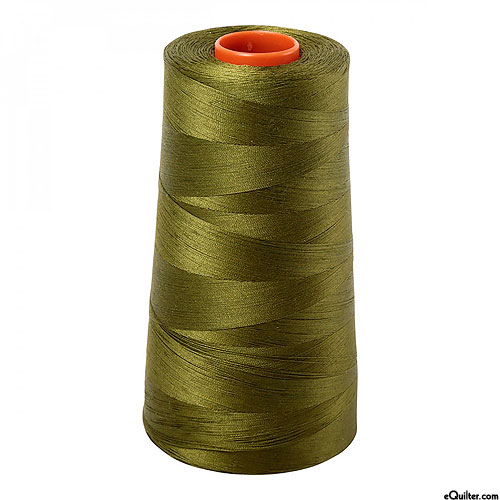 Green - AURIFIL Cotton Thread CONE - Solid 50 Wt - Very Dk Olive