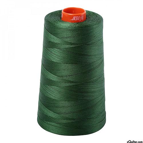 Green - AURIFIL Cotton Thread CONE - Solid 50 Wt - Pine Green