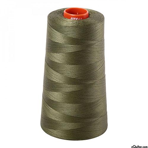 Green - AURIFIL Cotton Thread CONE - Solid 50 Wt - Army Green
