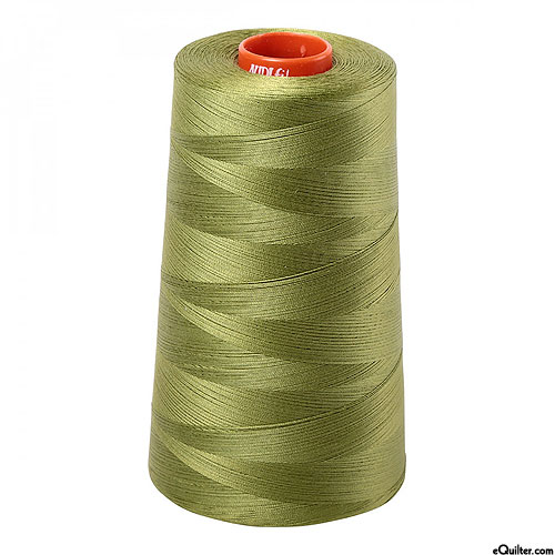 Green - AURIFIL Cotton Thread CONE - Solid 50 Wt - Olive Green