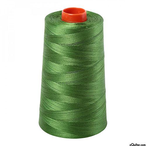 Green - AURIFIL Cotton Thread CONE - Solid 50 Wt - Dk Grass