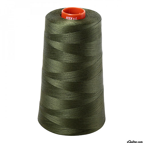 Green - AURIFIL Cotton Thread CONE - Solid 50 Wt - MD Green