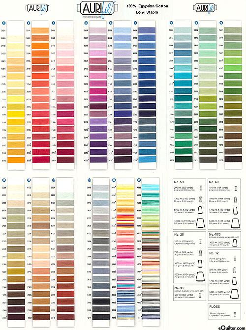 Aurifil Threads Color Card
