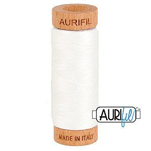 Cream - AURIFIL Cotton Thread - Solid 80 Wt - Natural White