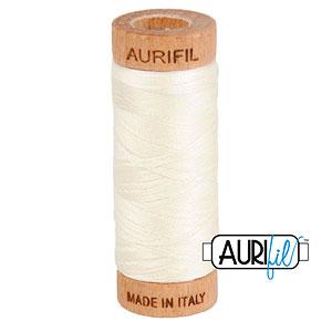Cream - AURIFIL Cotton Thread - Solid 80 Wt - Chalk