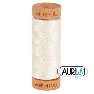 Cream - AURIFIL Cotton Thread - Solid 80 Wt - Eggshell