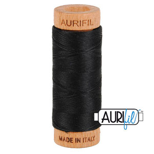Basic - AURIFIL Cotton Thread - Solid 80 Wt - Black