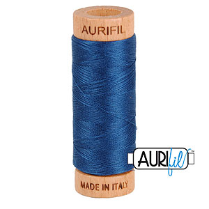 Blue - AURIFIL Cotton Thread - Solid 80 Wt - Md Delft Blue