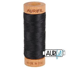 Gray - AURIFIL Cotton Thread - Solid 80 Wt - Very Dk Gray