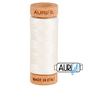 Cream - AURIFIL Cotton Thread - Solid 80 Wt - Whitewash