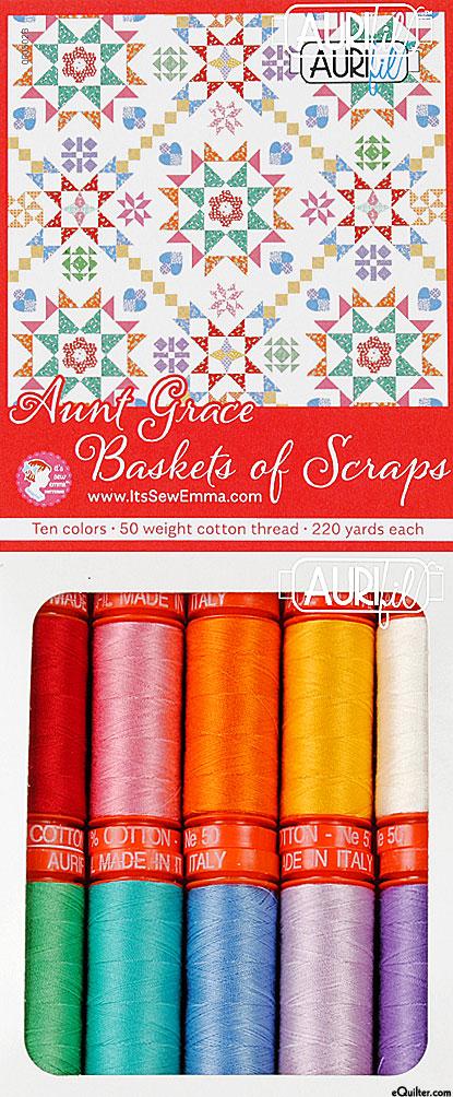 Aunt Grace Baskets of Scraps - Aurifil Thread Set