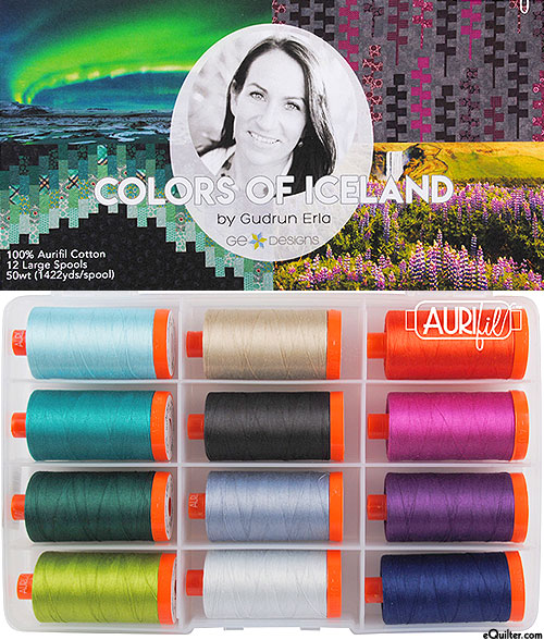 Colors of Iceland by Gudrun Erla - Aurifil Thread Set