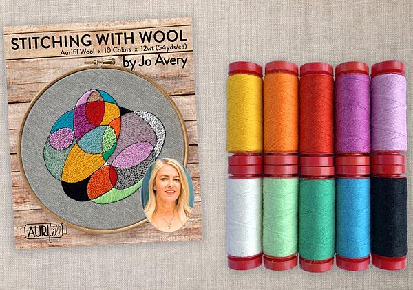 Stitching with Wool by Jo Avery - Aurifil Thread Set