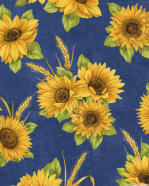 Accent On Sunflowers - Sunflower Dance - Delft Blue