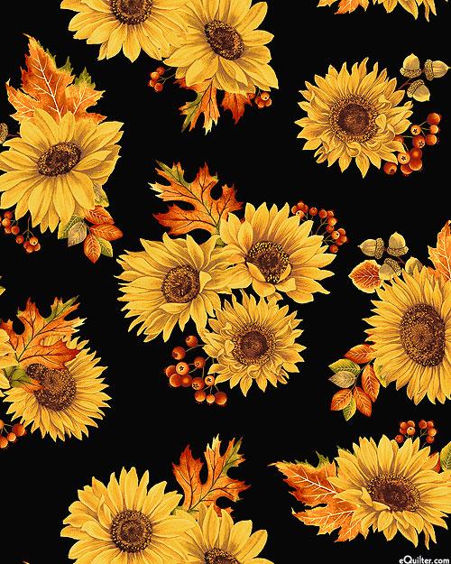Autumn Elegance - Sunflower Harvest - Black/Gold