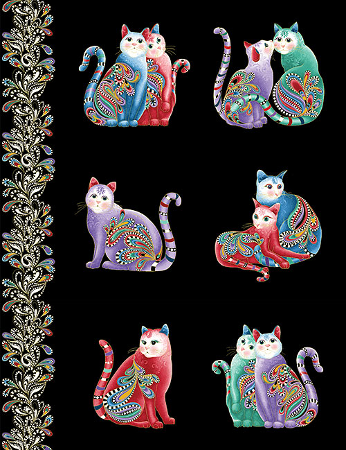 "Cat-i-tude 2 - Paisley Kitties - Black/Gold - 24"" x 44"" PANEL"