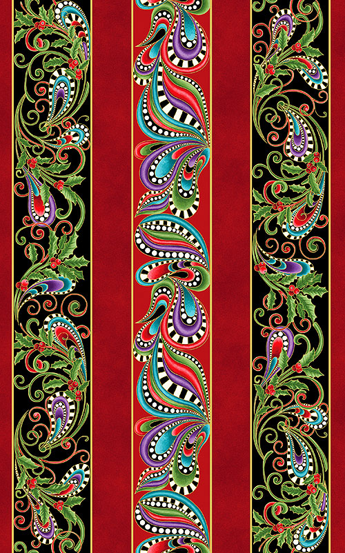 Cat-i-tude Christmas - Holiday Flourish - Dk Red/Gold