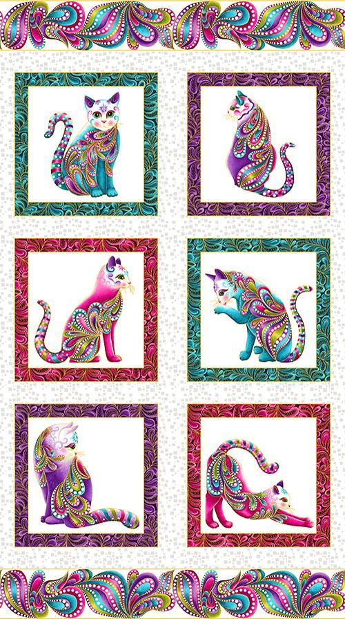 "Cat-i-tude - Paisley Princesses - White/Gold - 24"" x 44"" PANEL"
