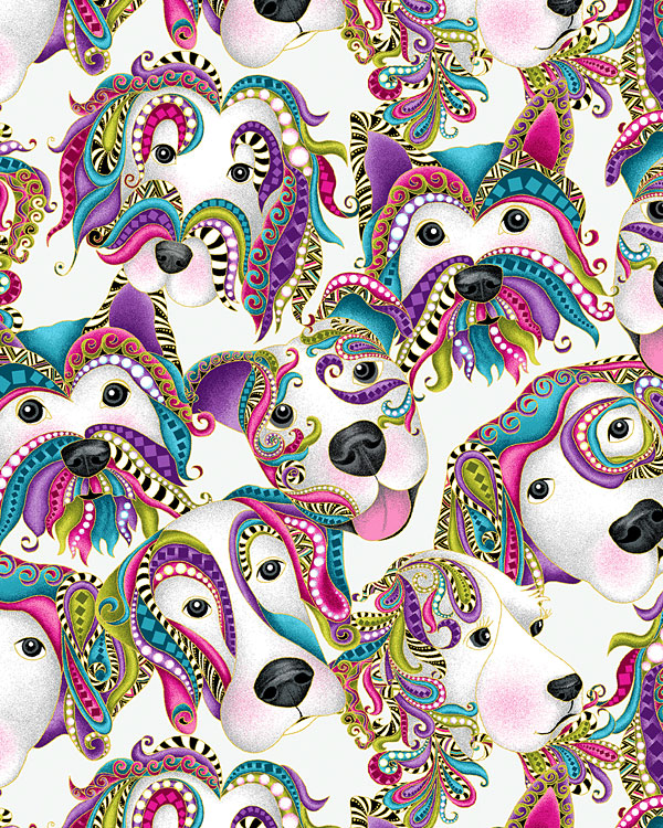 Dog On It - Packed Paisley Pups - White/Gold