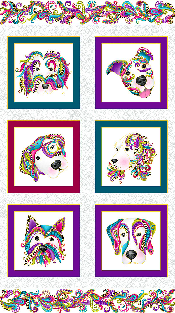 "Dog On It - Framed Paisley Pups - White/Gold - 24"" x 44"" PANEL"
