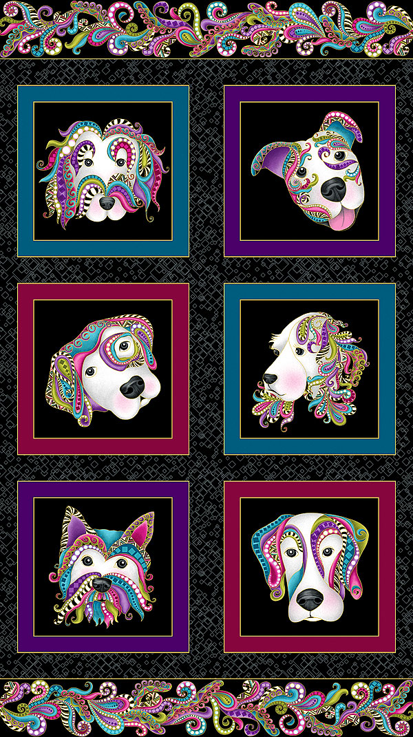 "Dog On It - Framed Paisley Pups - Black/Gold - 24"" x 44"" PANEL"