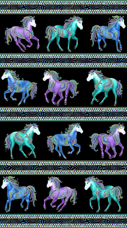 Horsen Around - Galloping Horses Stripe - Black/Gold