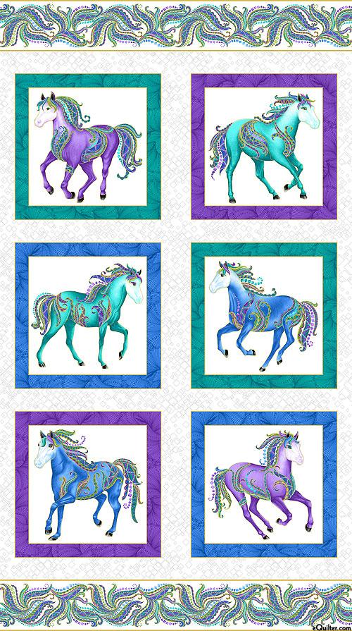 "Horsen Around - Pony Blocks - White/Gold - 24"" x 44"" PANEL"