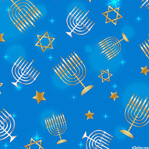 Festival of Lights - Menorahs & Stars - Royal Blue