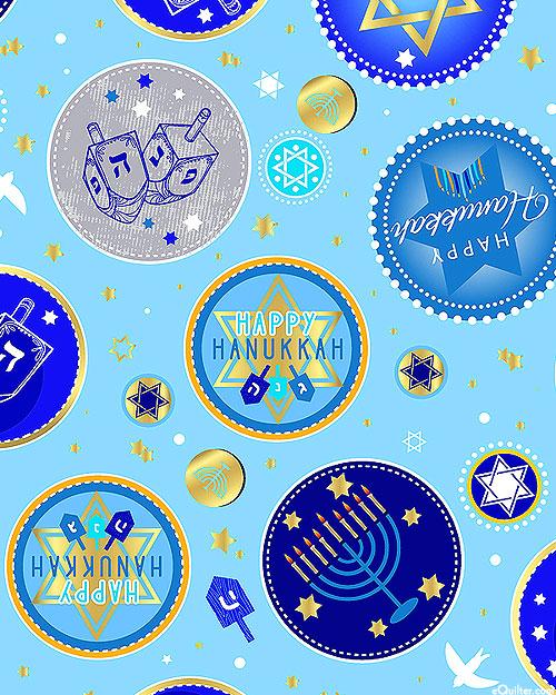 Festival of Lights - Happy Hanukkah - Sky Blue