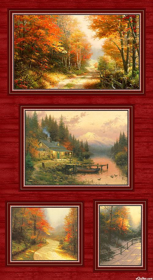 "Kinkade Autumn Colors - Lakeview Drive - 24"" x 44"" PANEL"