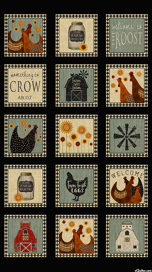 """Roost - Country Hen House - Black - 24"""" x 44"""" PANEL"""