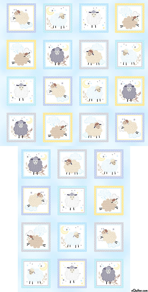 "Sweet Dreams - Sleepy Sheep Blocks - Baby Blue - 24"" x 44"" PANEL"
