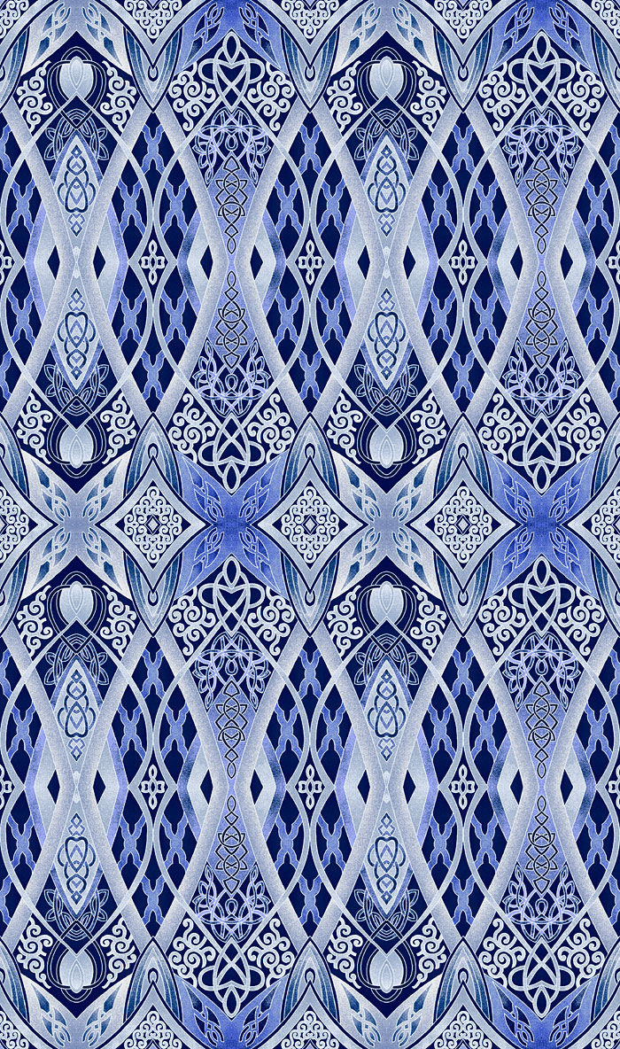 Artful Snowflake - New Cathedral Window - Navy Blue/Silver