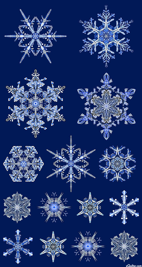 "Artful Snowflake - Ice Crystal - Navy/Silver - 24"" x 44"" PANEL"