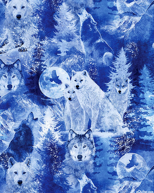Winter's Pearl - Arctic Wolves - Navy Blue/Pearl