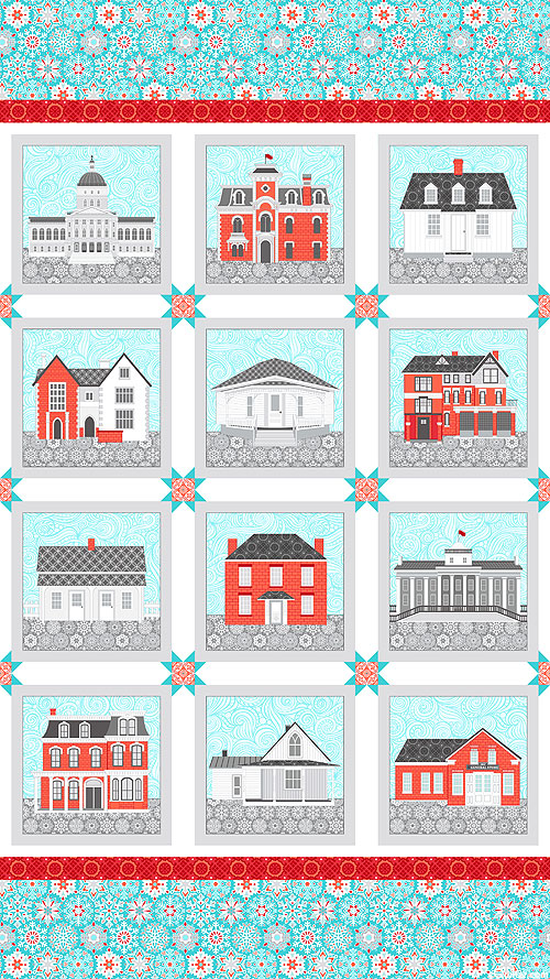 """Winter Village - Neo Classical - Frost Blue - 24"""" x 44"""" PANEL"""